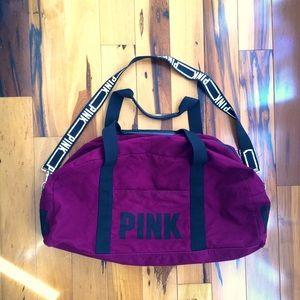 PINK VICTORIAS SECRET Maroon Duffle Bag